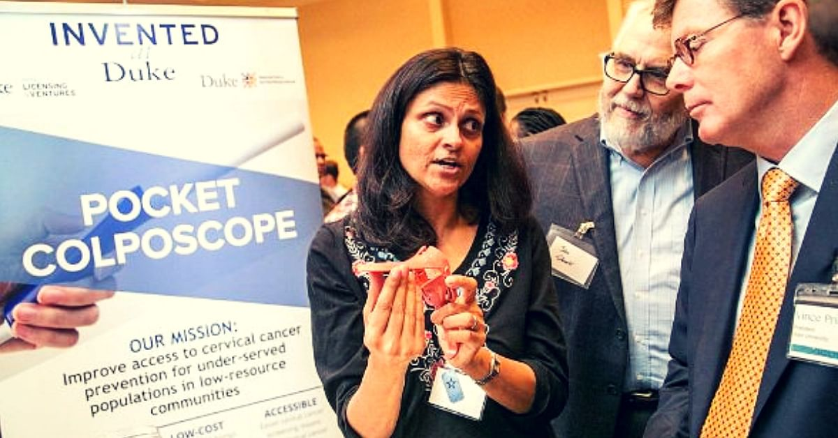 """Dr. Nimmi Ramanujam, who along with her team, has developed a new handheld low-cost device """"Pocket Colposcope"""". (Source: Twitter/Ruby Dhalla)"""