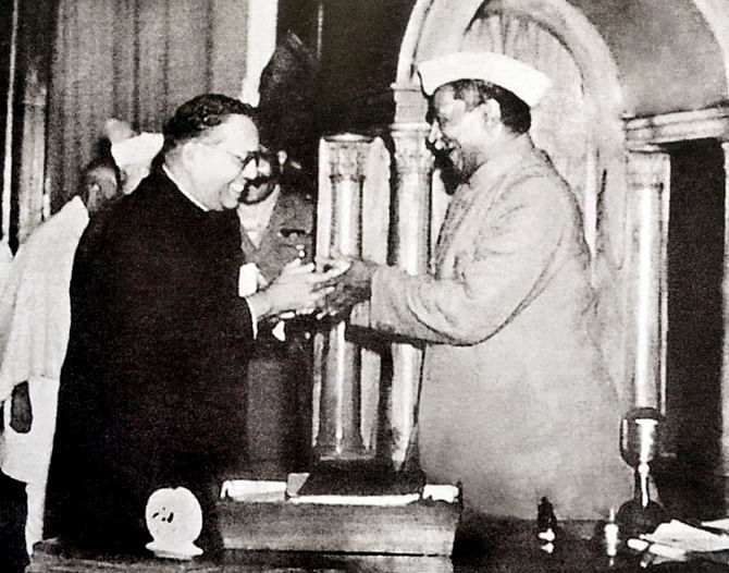 Dr BR Ambedkar and President of the Constituent Assembly Rajendra Prasad. (Source: Wikimedia Commons)