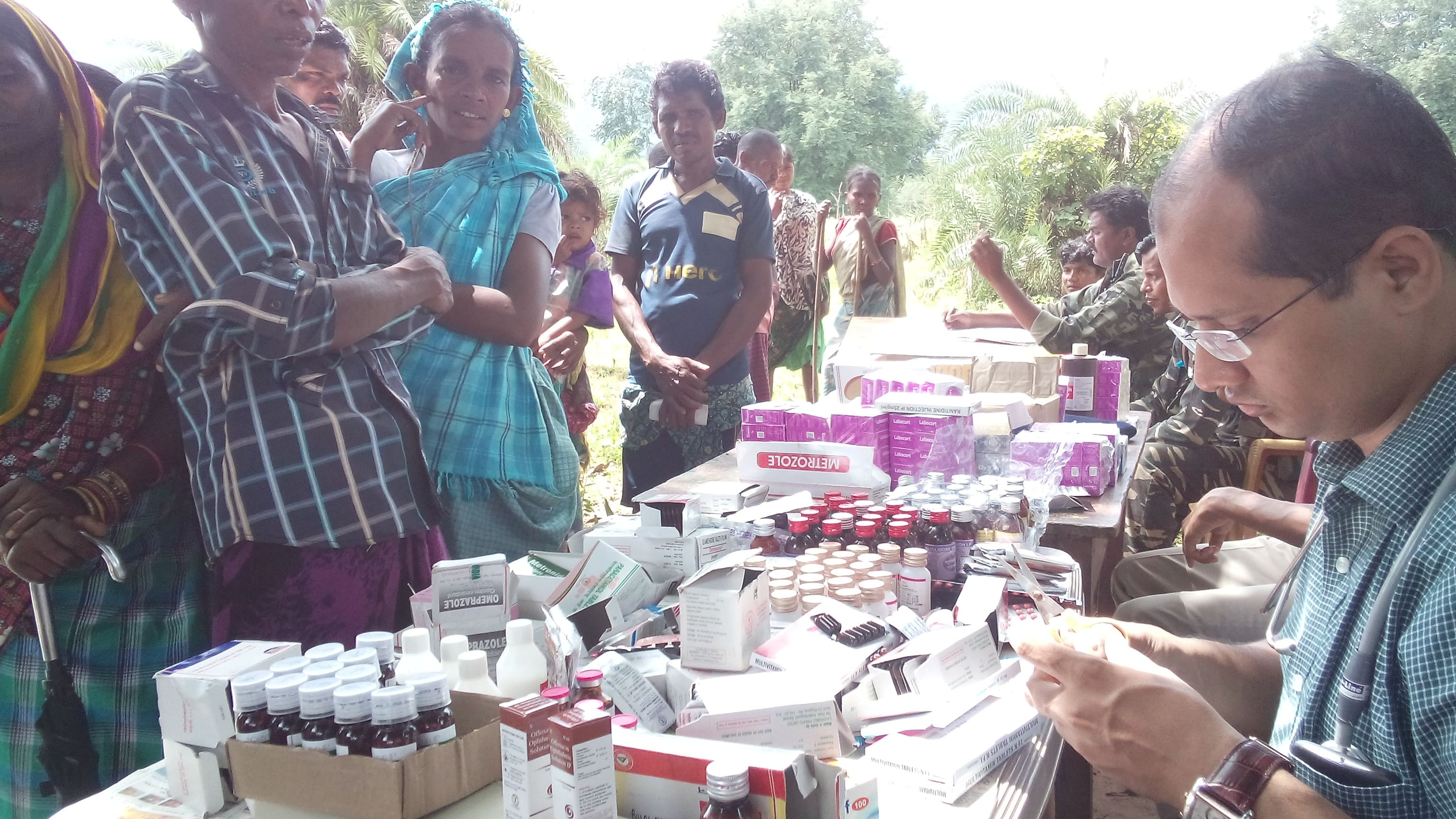 Distributing medicines.