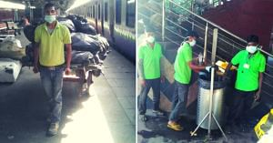 Safai Sena workers collecting garbage from the New Delhi Railway Station. (Source: Safai Sena)
