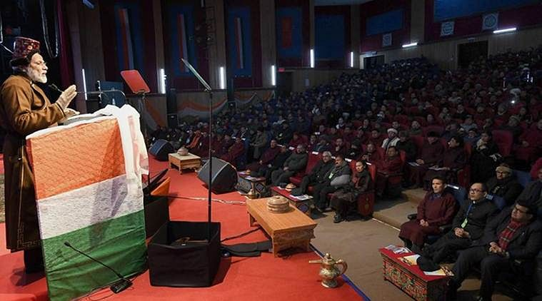 Prime Minister Narendra Modi addressing an audience in Leh over the weekend. (Source: Twitter)