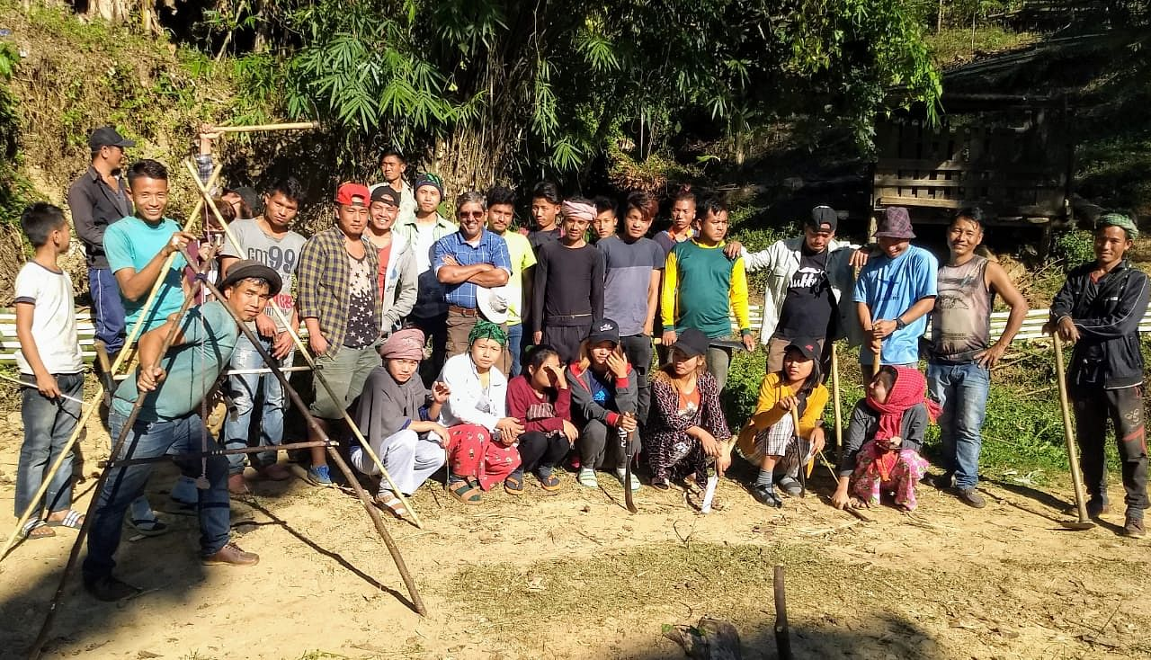 Soil conservation training with youth who study/work in cities and came back to the village for Christmas vacation.