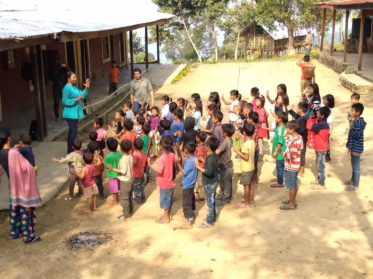 Usha taking Assembly at Aben Primary School in 2018.
