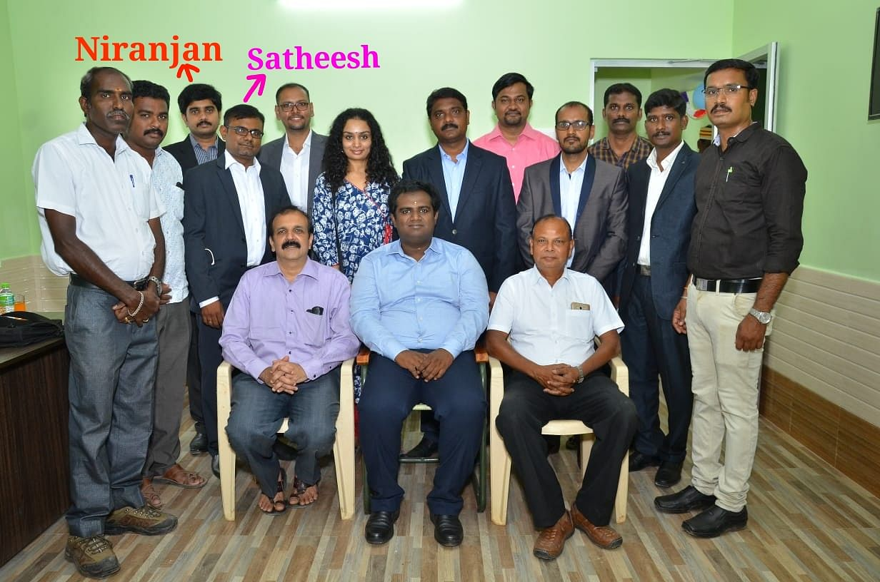 Aishwaryam Trust team with Dr Niranjan and Dr Satheesh marked in it. (Source: Aishwaryam Trust)