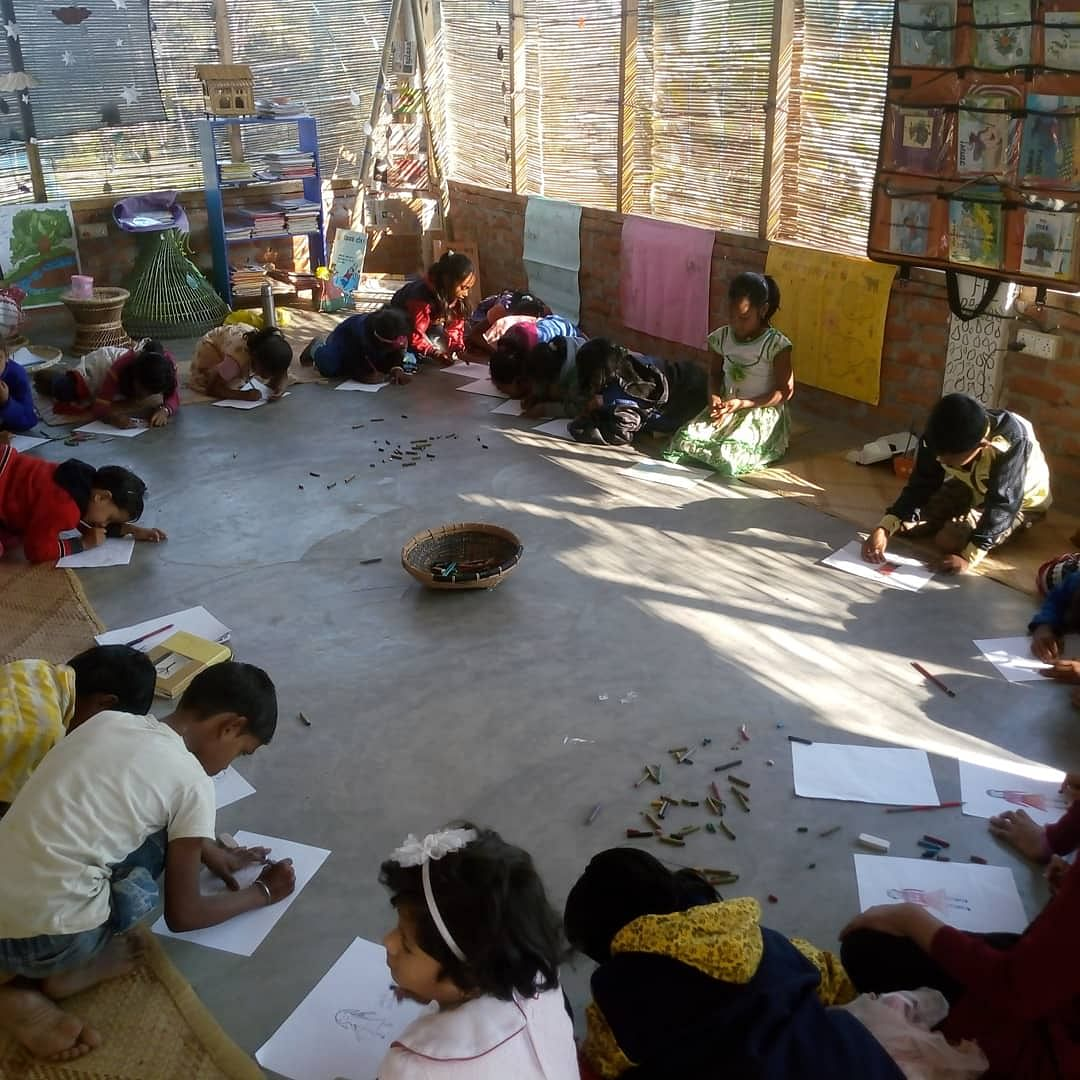 Students at the community library.