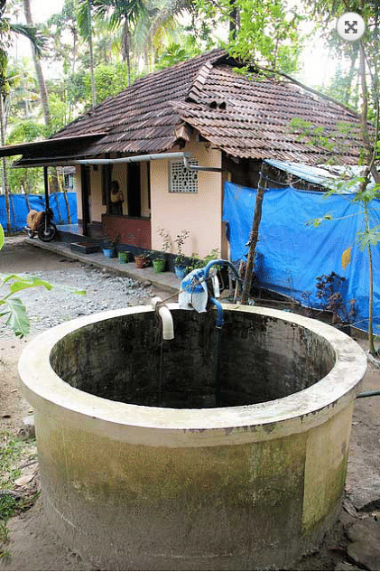 Rainwater is diverted from the tiled roof into the dug well within the premises.
