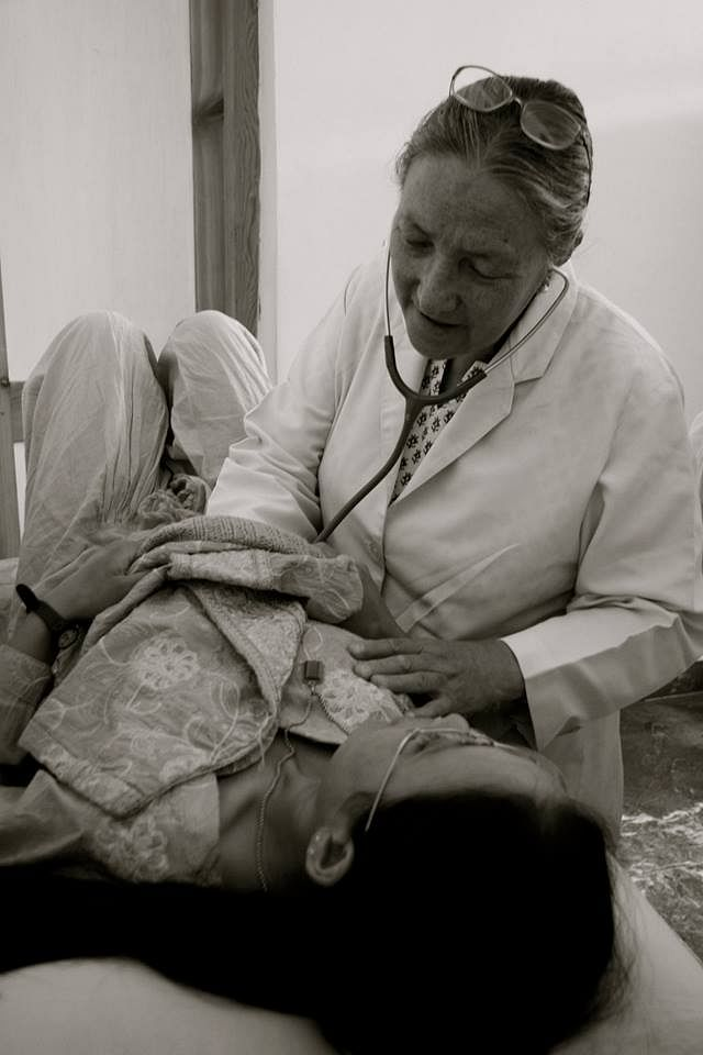 Dr Tsering Landol treating one of hundreds of patients at a clinic for the Ladakh Heart Foundation. (Source: Facebook/T Chosgyal Lharjey)