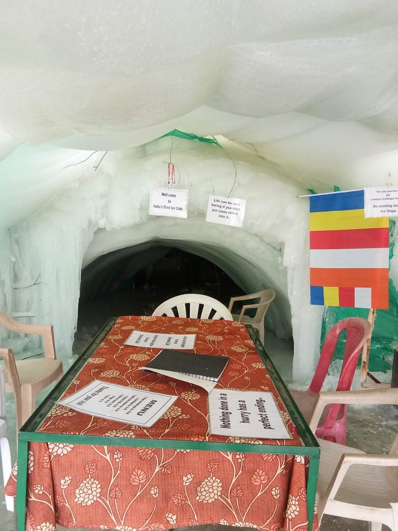 Seating arrangement inside the ice cafe.