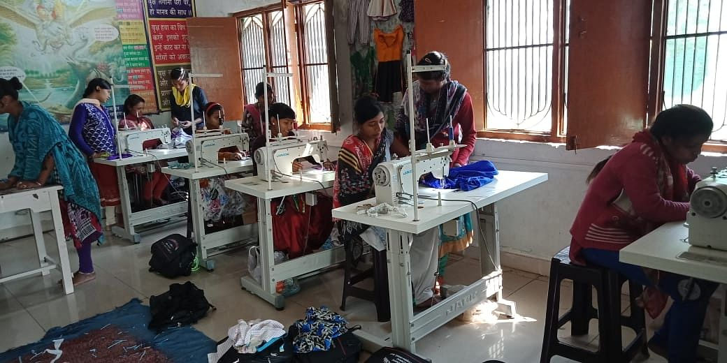 Women training to become tailors at the skill development centre. (Source: SS Rawat)