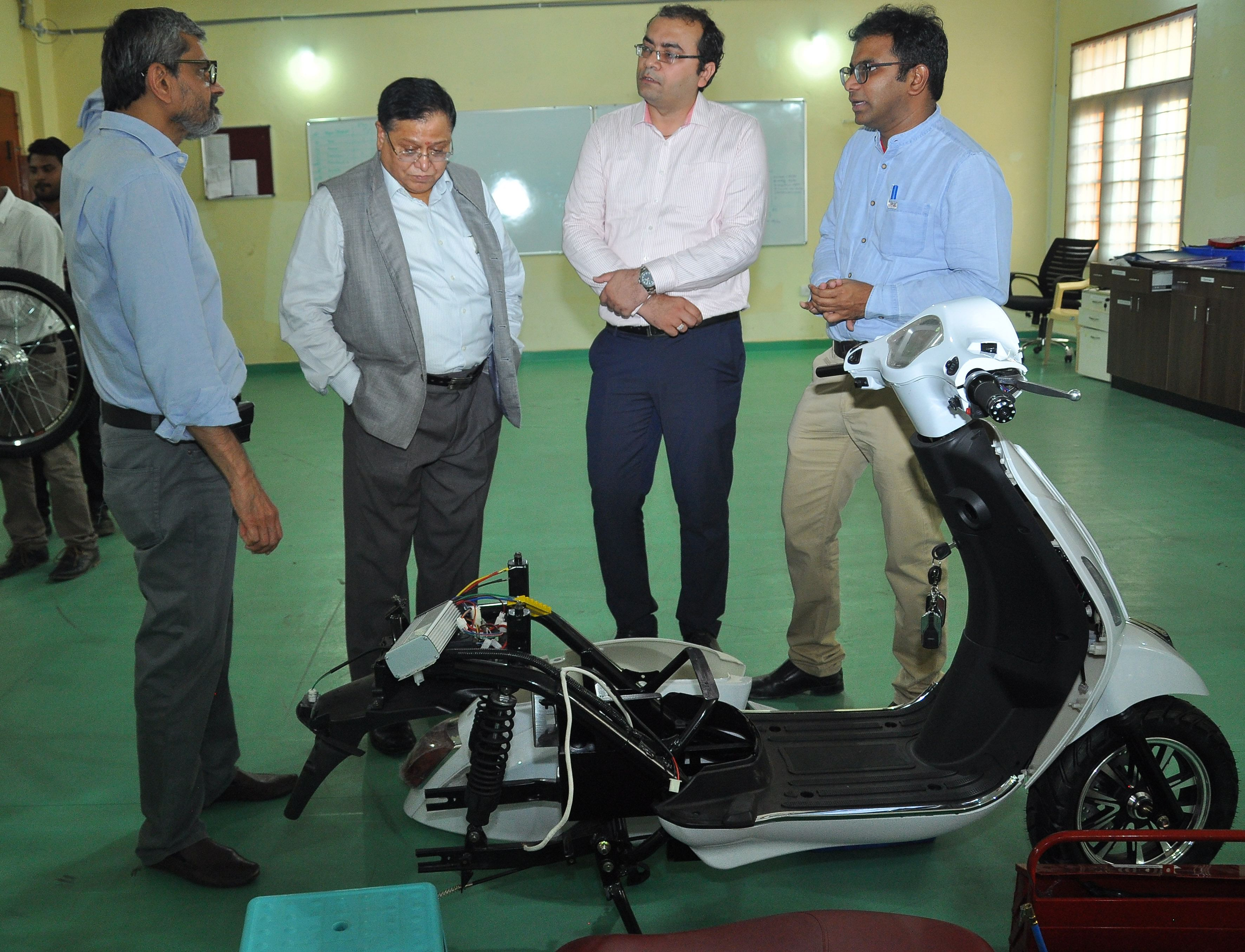 (L_R) Prof U.B. Desai, Director, IIT Hyderabad, Dr. V.K. Saraswat, Member, NITI Aayog, Mr. Rohit Vadera, CEO, PURE EV, and Dr. Nishanth Dongari, Assistant Professor, IITH.