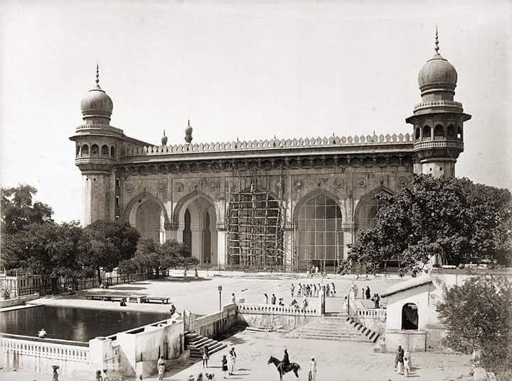 Mecca Masjid, Hyderabad ca 1880. (Credit: Raja Deen Dayal. )