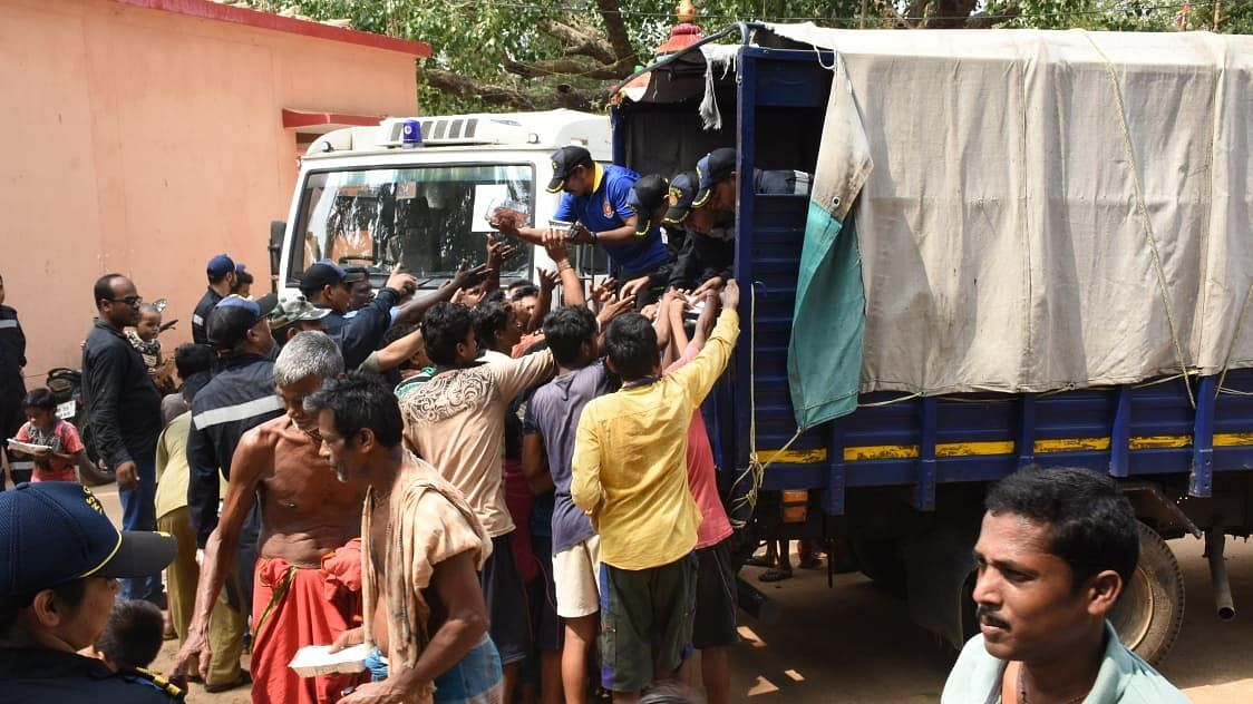 Distributing food in an affected area. (Source: Twitter)