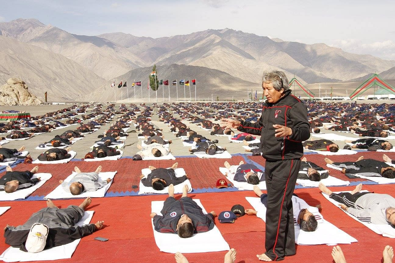 Teaching yoga at the Ladakh Scouts Centre in 2016. (Source: Facebook)