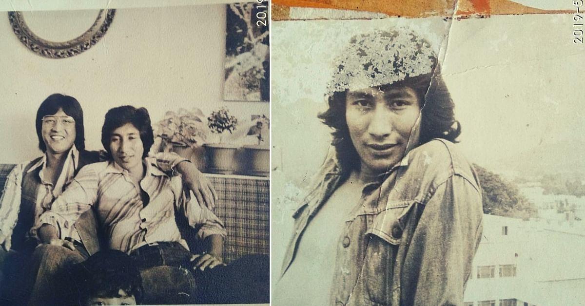On the Left: Phonsok Ladakhi with Danny Denzongpa circa 1984. On the right: Phonsok Ladakhi in FTII Pune campus circa 1973.