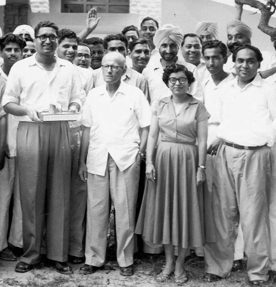 Urmila Eulie Chowdhury (second from right) with Pierre Jeanneret and others of the Chandigarh Capital Project. (Source: Facebook/Sarbjit Bahga)