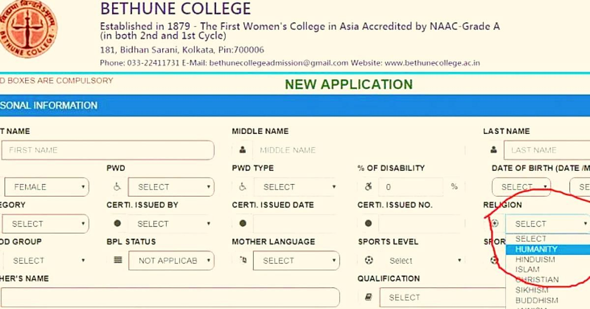 'Humanity' as Religion: Trailblazing Kolkata College's Admission Form is a Lesson For us All