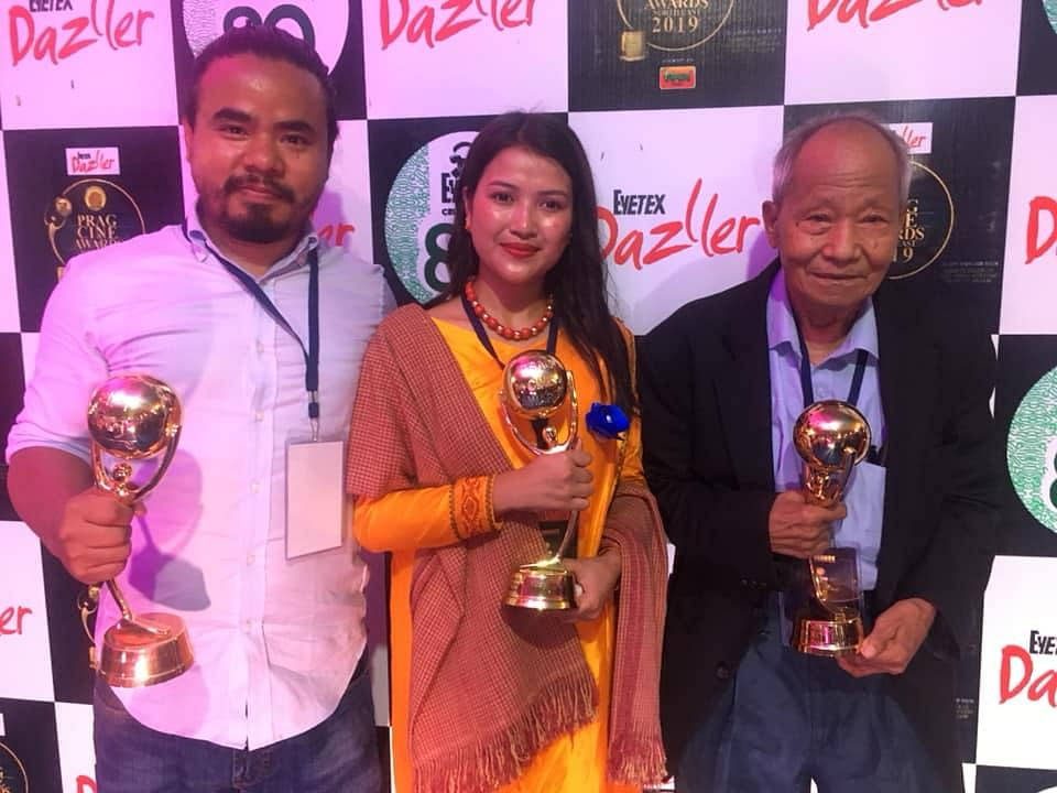 From Left to Right at the Prag Cine Awards North East 2019: Dominic Sangma (Best Director), Lasubon Lyngkhoi (Best Female Actor) and Philip Sangma (Best Actor).