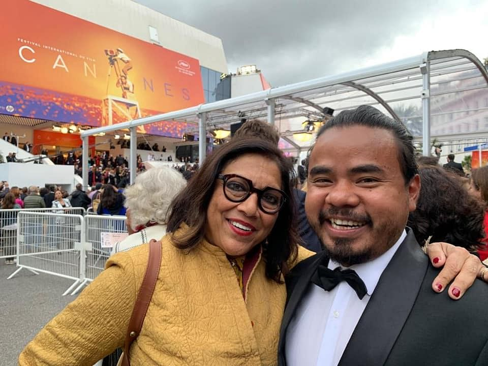 Dominic Sangma with legendary Indian filmmaker Mira Nair at Festival de Cannes. (Source: Facebook/Dominic Sangma)