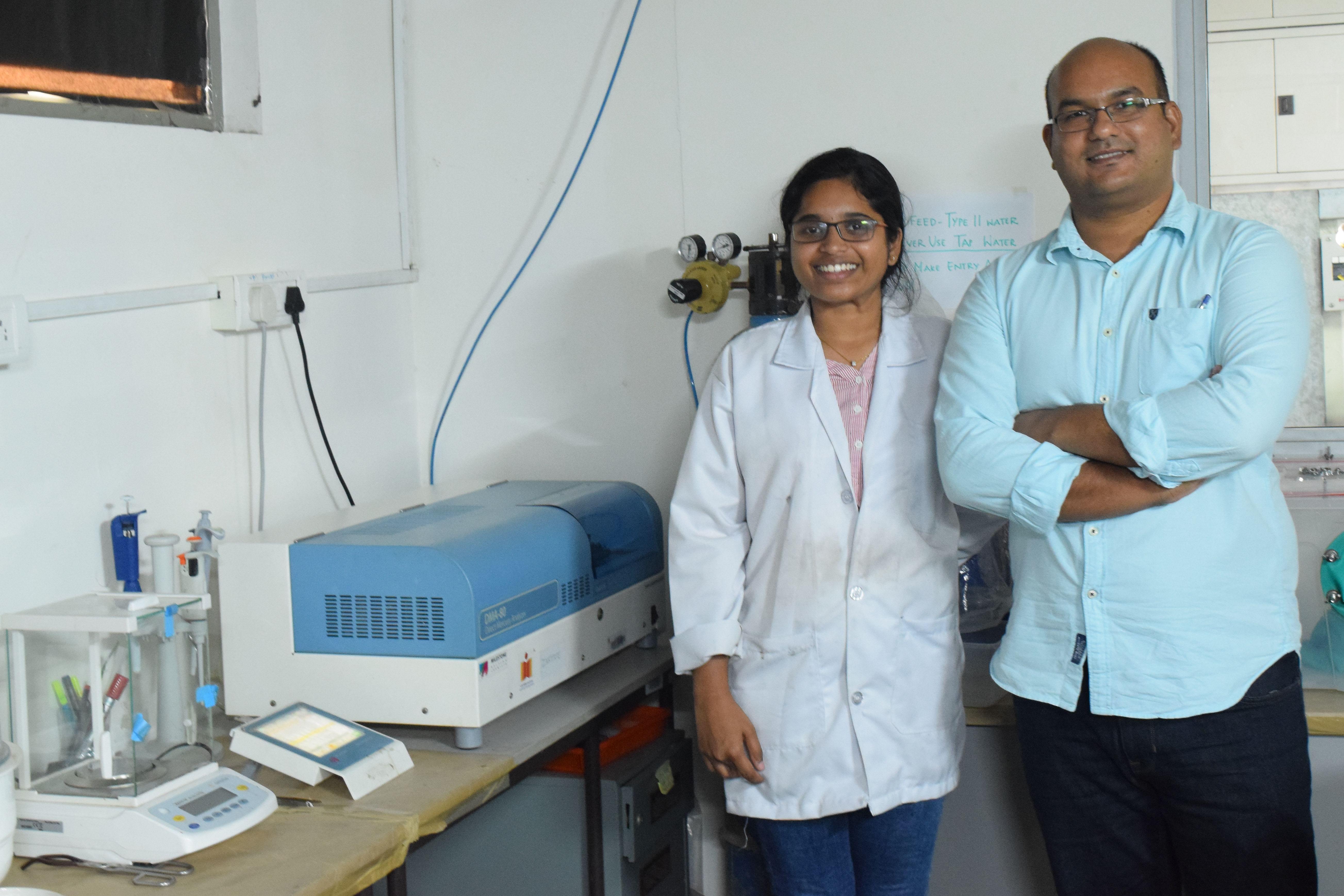 Dr. Asif Qureshi (R), Associate Professor, Dept of Civil Engineering, IIT-H & his PhD student Dr. Subhavana Katakam (L) (Source: IIT Hyderabad)