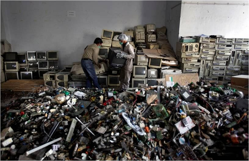 Sorting through e-waste. (Source: Facebook/E-Waste Recyclers India)