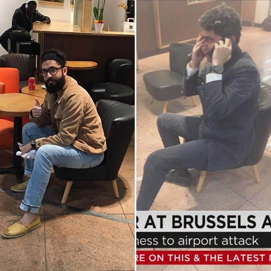 Amit at the site of the blast exactly one year later. Exactly same spot, same time, same chair. (Source: Amit Motwani)