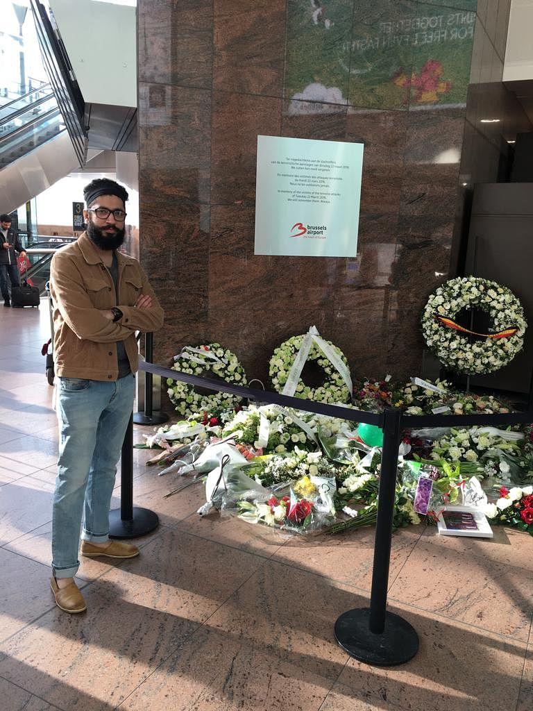 Amit at a memorial remembering the victims of the terror attack in Brussels. (Source: Amit Motwani)