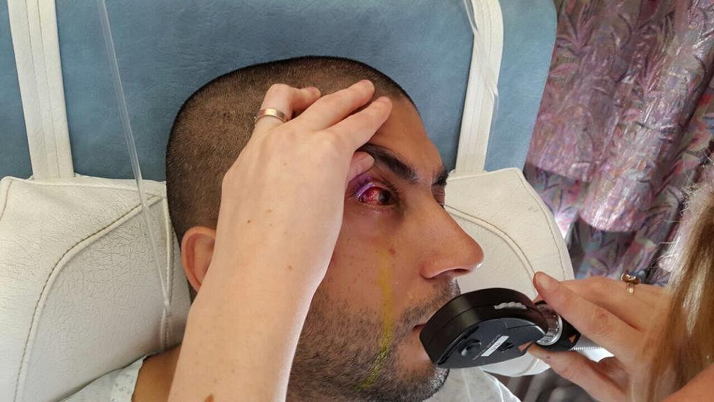 Getting his eye treated at the hospital in Antwerp. (Source: Amit Motwani)