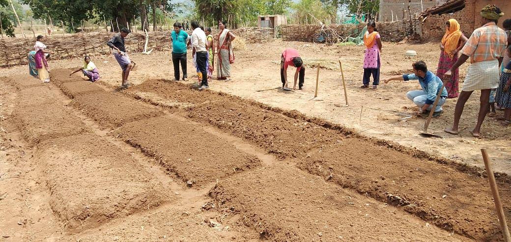Field demonstration on Lay out and community nursery bed preparation was conducted in Hariharpur village, Champadeipur Grampanchayat, Lanjigarh block, Kalahandi. (Source: Samagra)