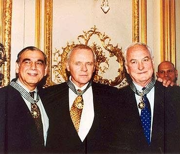 Ismail Merchant, Anthony Hopkins and James Ivory in 1996. (Source: Facebook/Merchant Ivory Productions)