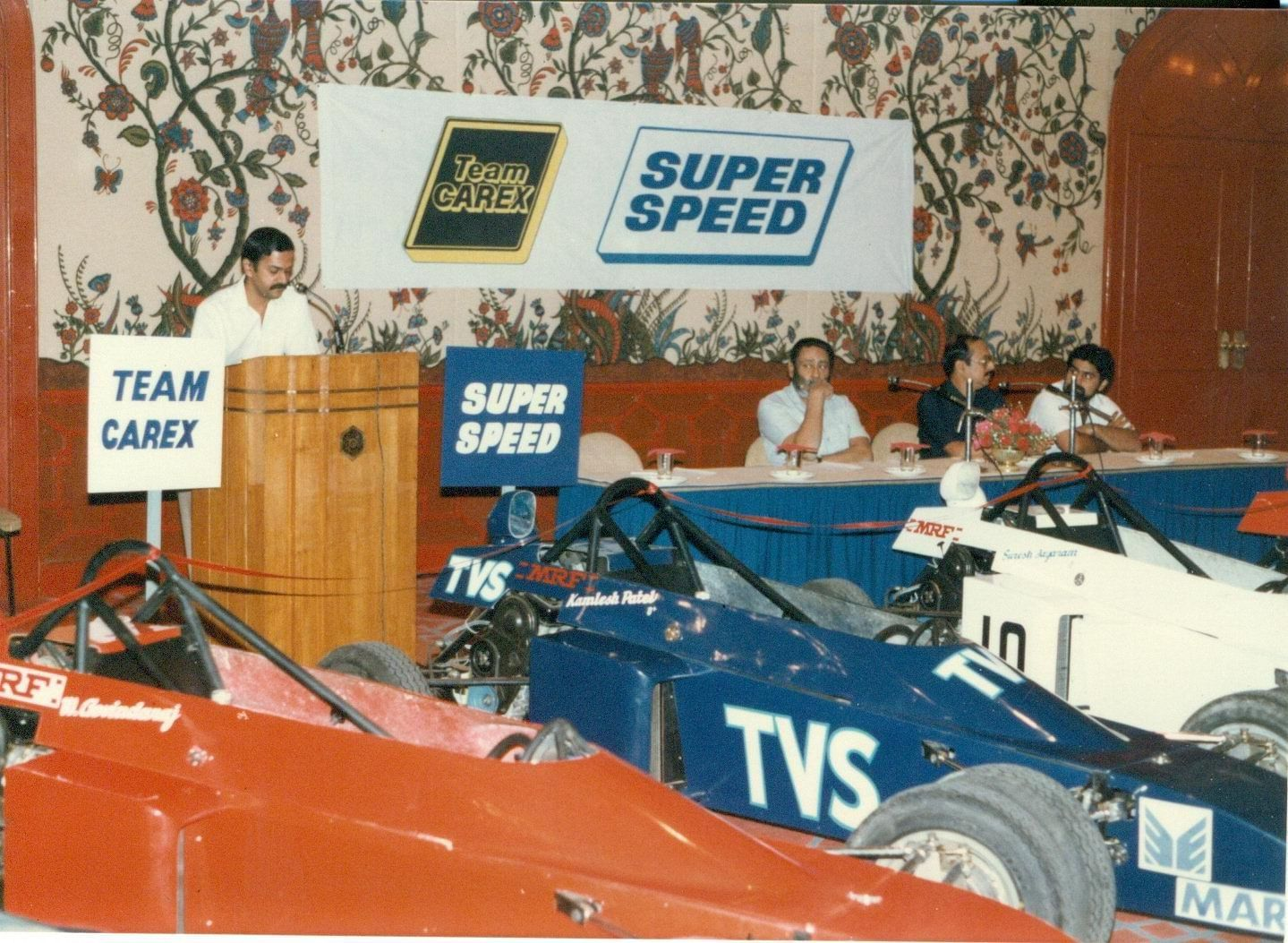 Formula India Single Seater Maruti Engine is Kari's greatest contribution to Indian motorsport. Here he is seen at the grand launch of FISSME in 1988 at the Taj Hotel in Madras. (Source: Facebook/Vicky Chandhok)