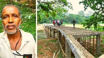 Gangadhar Rout (Left) and the bridge he's building. (Source: Twitter/Ajay Kumar Nandy)