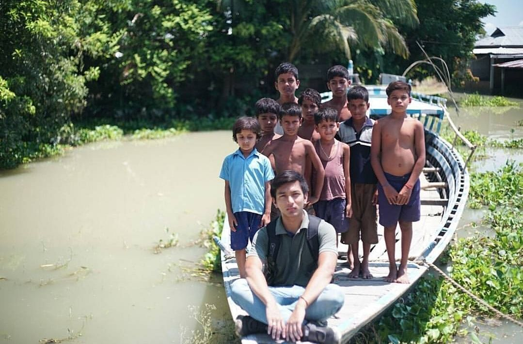 Rahul Rajkhowa during his visit to flood-affected areas in Assam. (Source: Facebook/Rahul Rajkhowa)