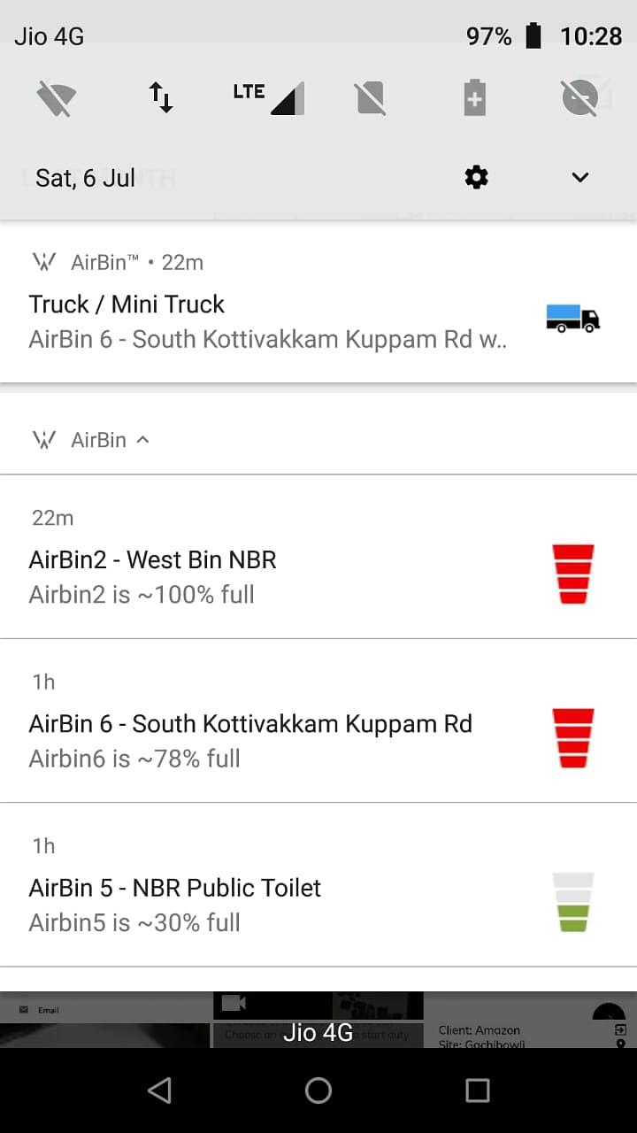 Live status of bins in Valmiki Nagar, Chennai, as seen on the app. (Source: Mahek Shah)