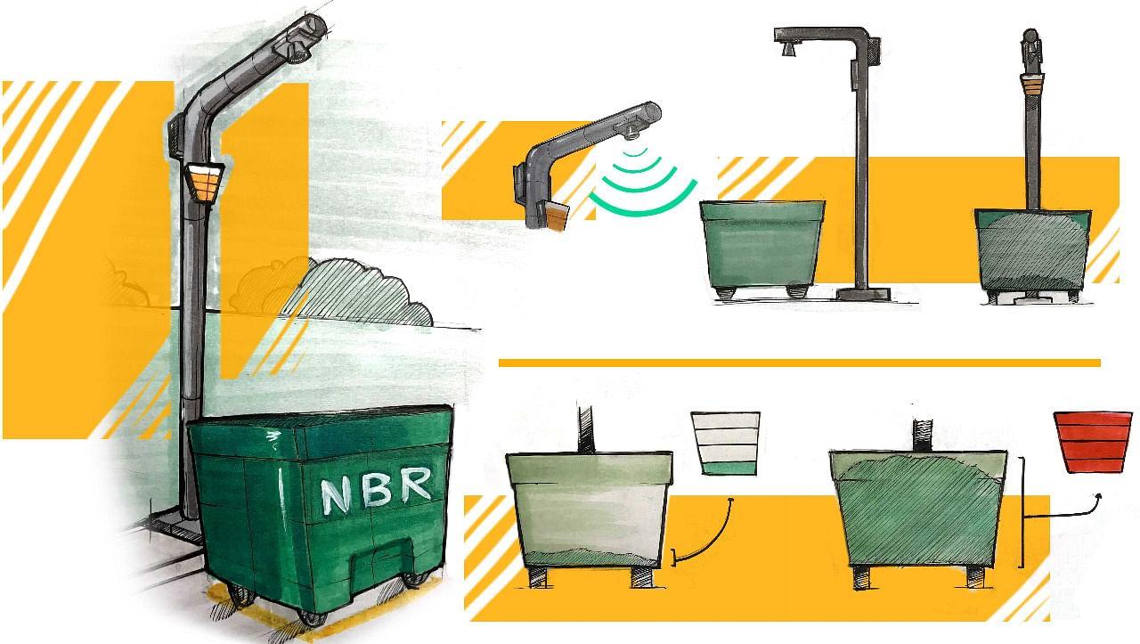 Rough sketch of the smart bins. (Source: Mahek Shah)