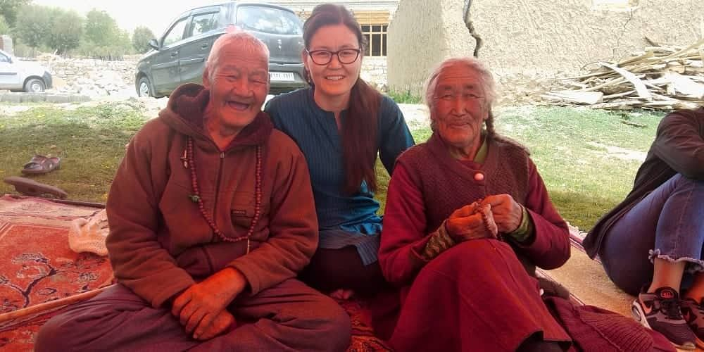 Tashi Pambar Siaser (Extreme Left), his granddaughter Tsetan Dolkar and his wife and partner in the tree plantation drive Tsering Dolkar. (Source: Tsetan Dolkar)