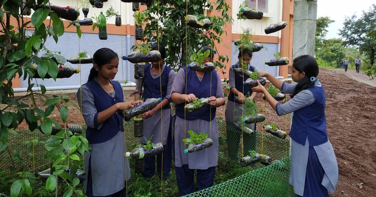 Karnataka College Upcycles 700 Plastic Bottles Into Stunning Hanging Garden!