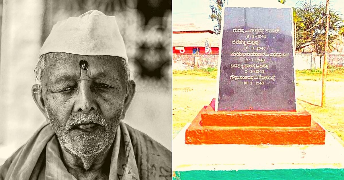 Left: Huchuraayappa, a freedom fighter from Issuru Village, Karnataka. Right: A stone engraving with the names of those who sacrificed their lives. (Source: Naveed Mulki/@mohsinstats)