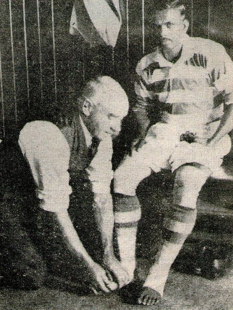 Mohammed_Salim having his feet bandaged at Celtic FC in 1936. (Source: Wikimedia Commons)
