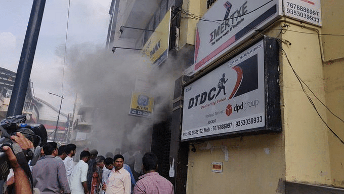 Fire at UCO Bank branch on MG Road. (Source: Twitter/India Ahead News)
