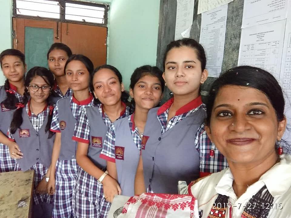 Remya with her students at KV Khanapara. (Source: Facebook)