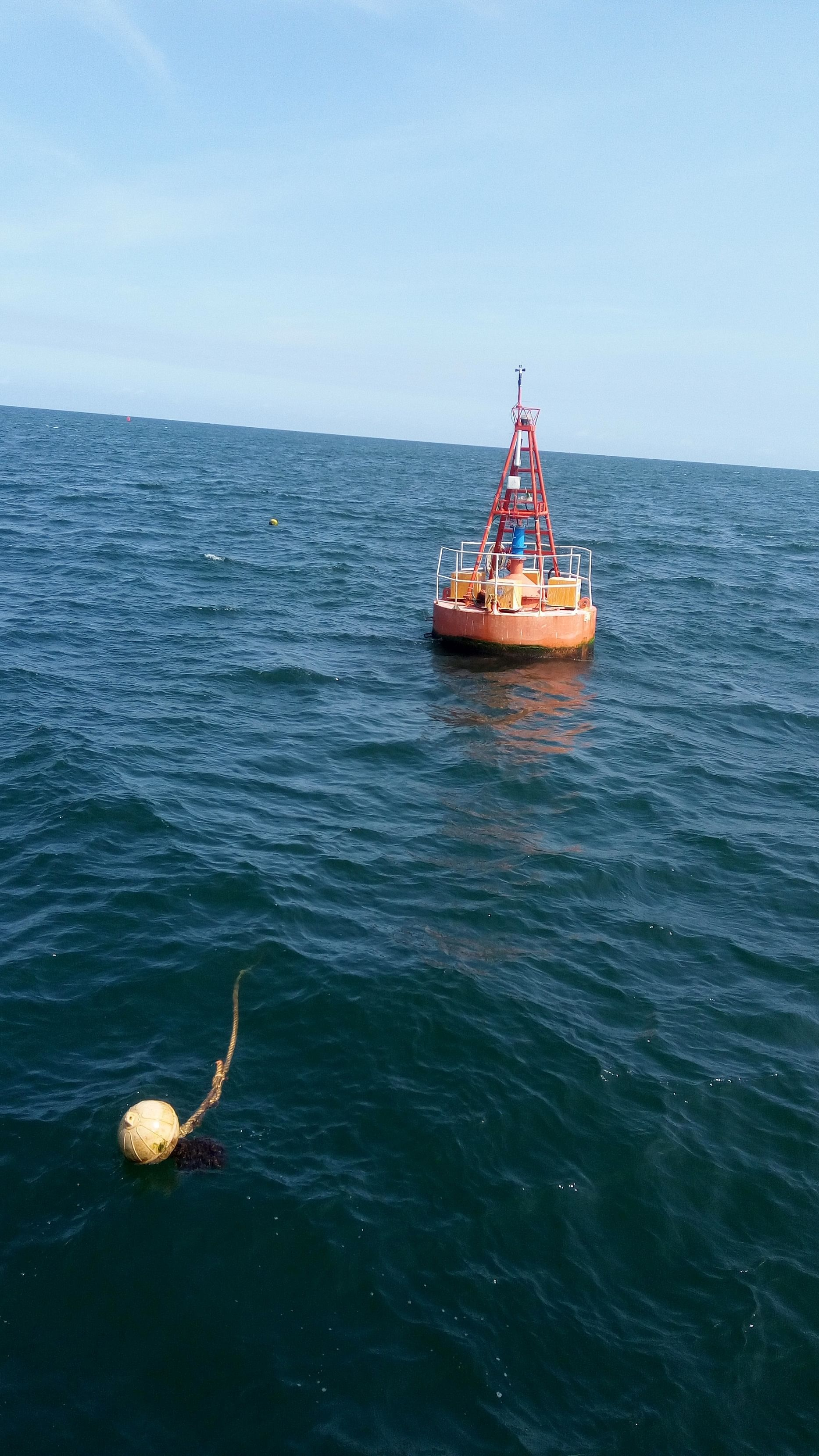 The turbine in the NIOT's Floating wave powered navigational buoy.