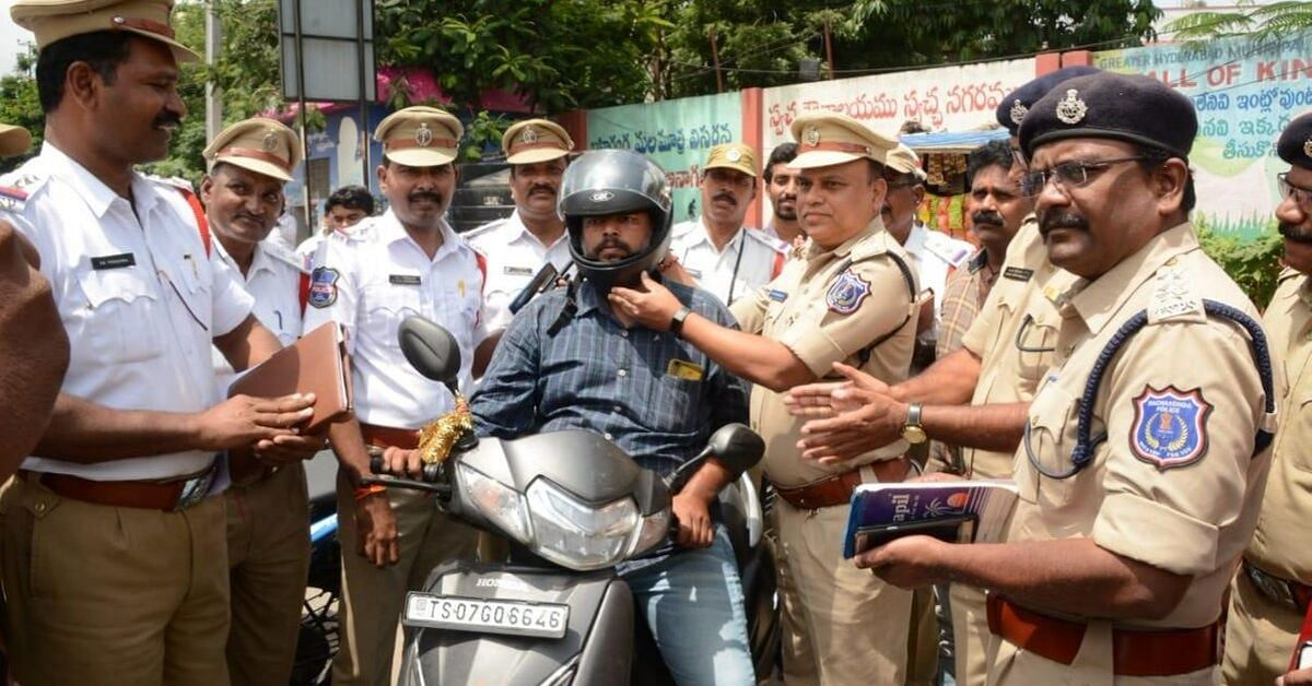 Hyderabadis Are Getting Helmets From Cops Instead of Hefty Fines. Here's Why!