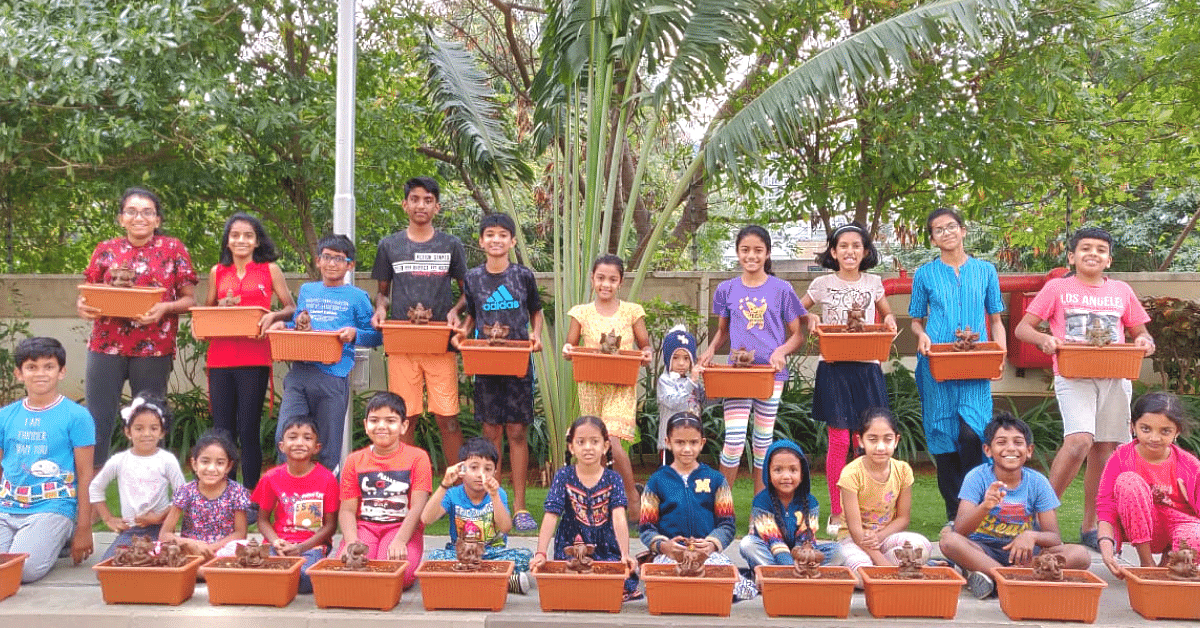 75 Bengaluru Kids come Together to Make Environment-Friendly 'Tree Ganesha'!