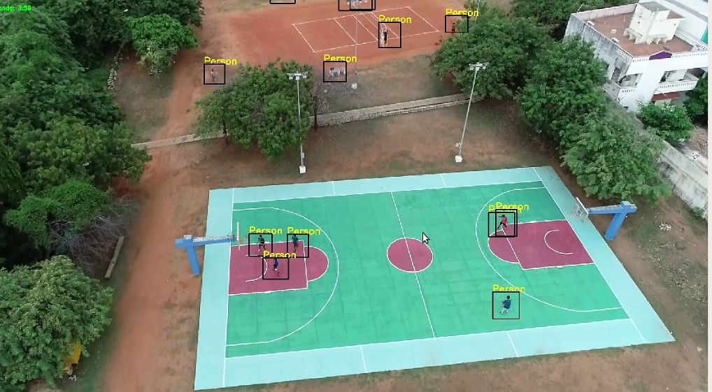 An Image of Basketball Court in IIT Madras generated by the Drone developed by 'Eye in the Sky' Team, CFI - IIT Madras.