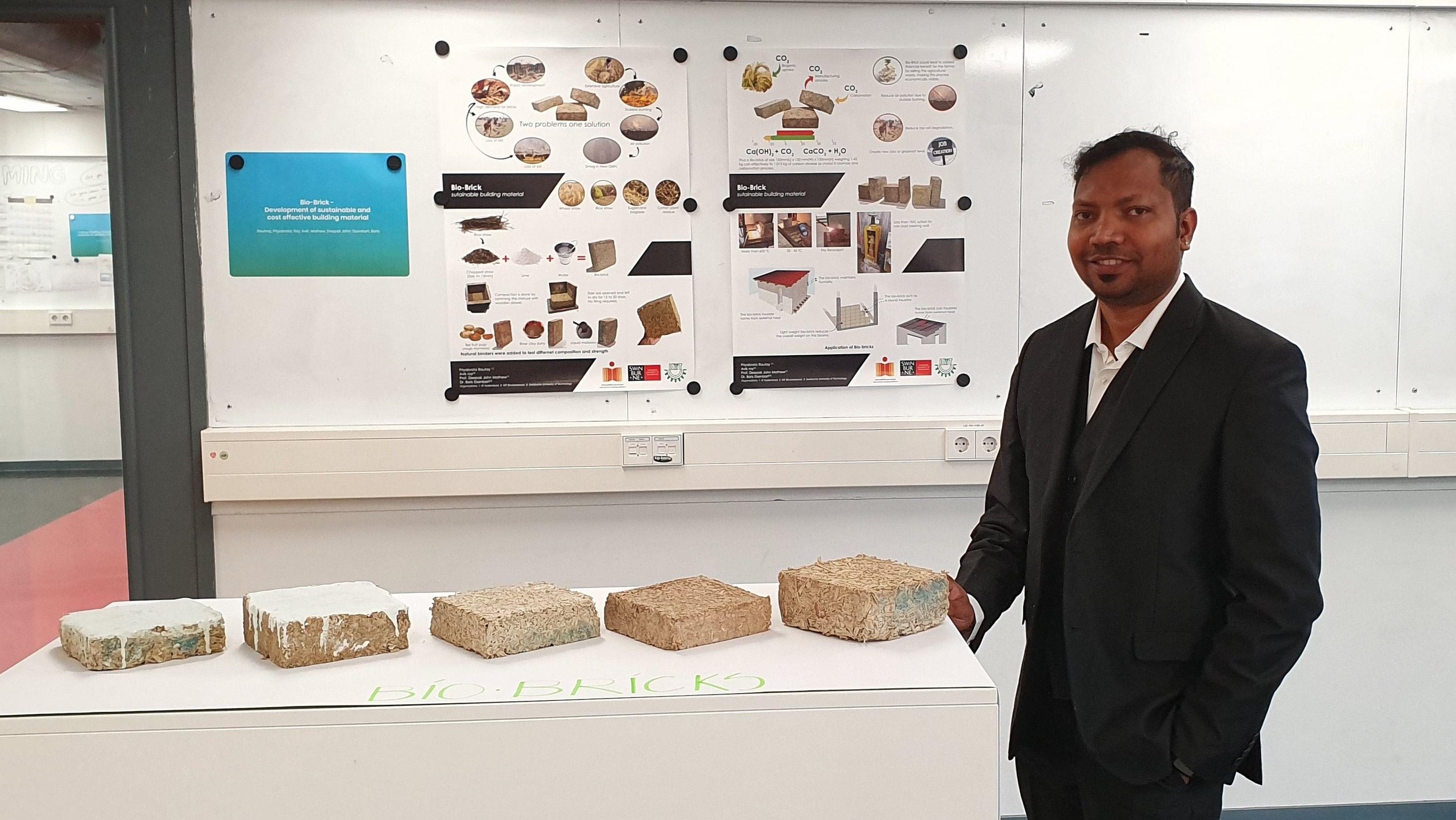 Ar. Priyabrata Rautray, PhD scholar, Design Department, IIT Hyderabad, with the 'Bio-Bricks' at International Conference on Engineering Design (ICED-2019) at TU Delft, Netherlands. (Source: IIT-Hyderabad)