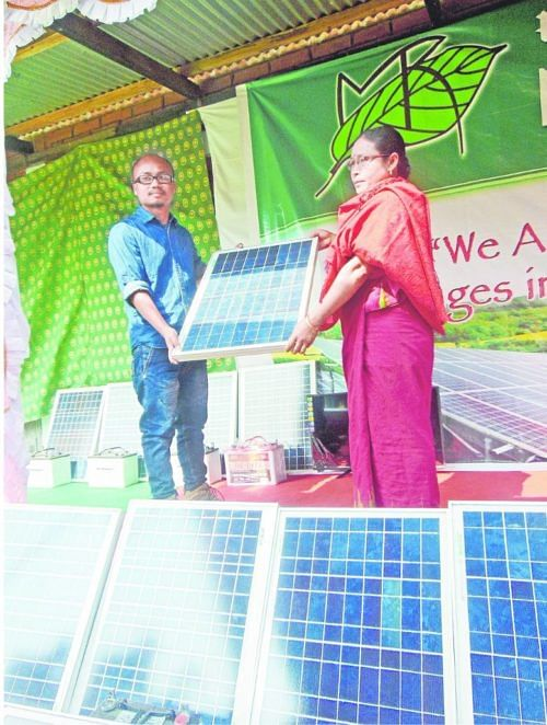 Distribution of solar home lighting system to all villages at Atom Khuman.