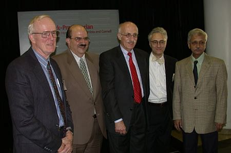 2002 Pollin Prize in Pediatric Research winners for development of oral rehydration therapy :(left to right) Nathaniel Pierce, David Nalin, Norbert Hirschorn, Rudi Leiber, Dilip Mahalanabis. (Source: https://www.nlm.nih.gov)