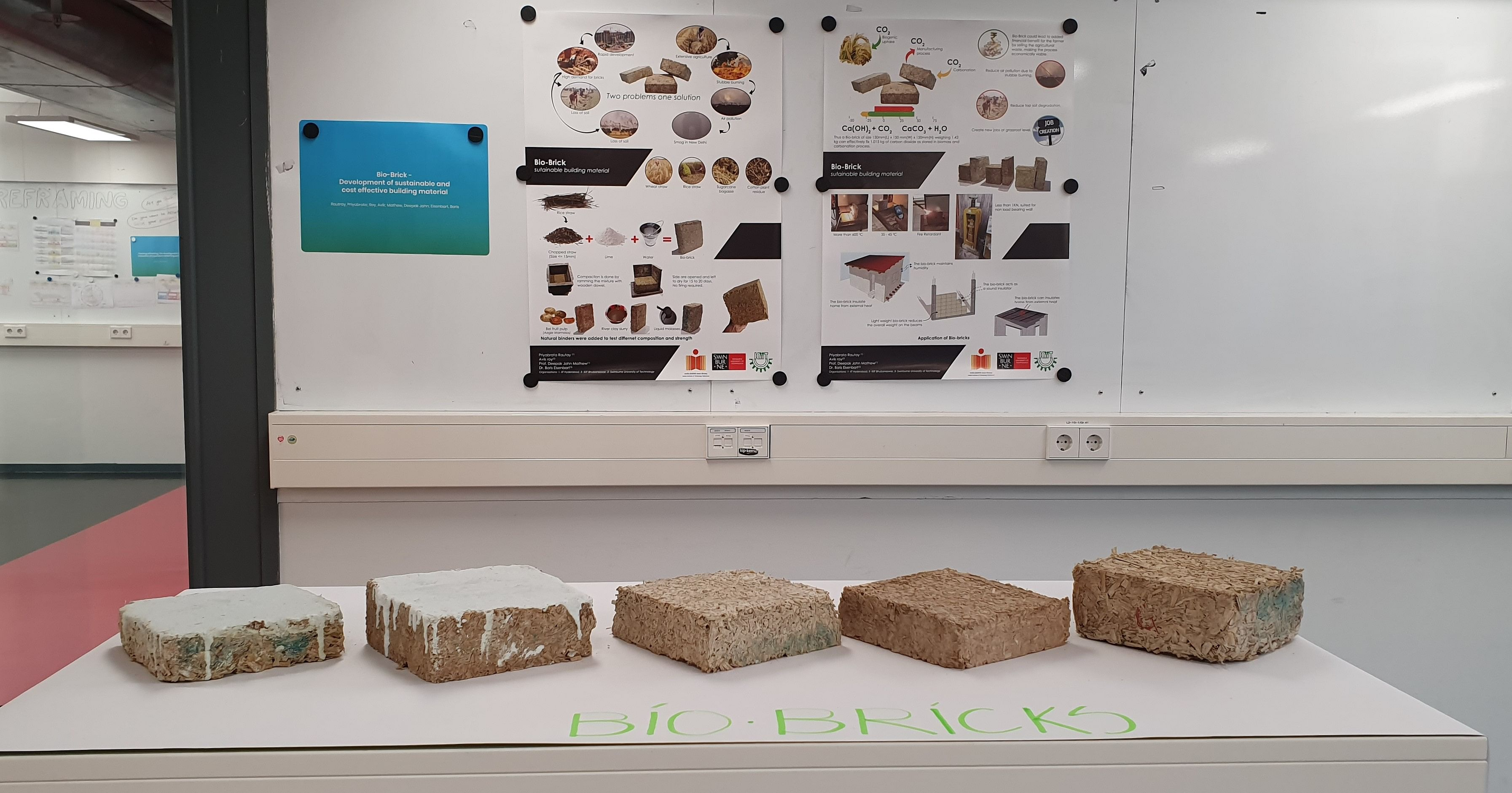 The 'Bio-Bricks' developed from Agricultural Waste Products by IIT Hyderabad and KIIT Bhubaneshwar Researchers. (Source: IIT-Hyderabad)