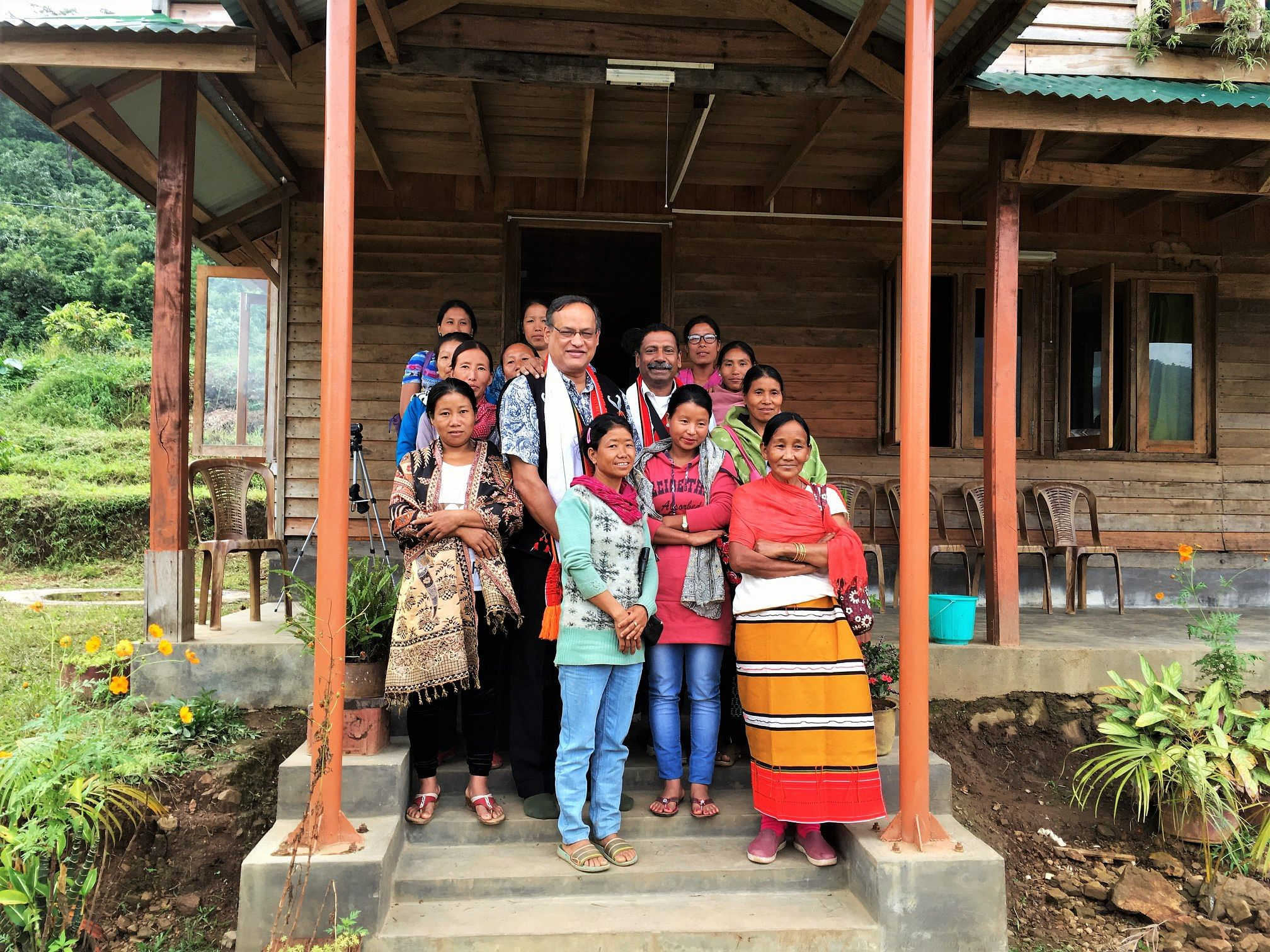 Colonel Rego standing with Women's Self Help Groups at the Sunbird Centre. (Source: Facebook)