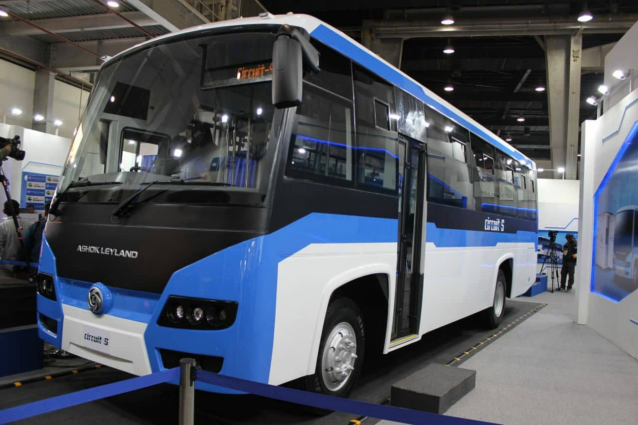 The new Circuit 'S' electric bus rolled out by Ashok Leyland. (Source: Facebook/Auto Expo-The Motor Show 2018)